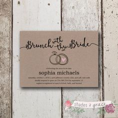Printable DIY Wedding Invitation Stationary Suite perfect for a bridal shower or bridal brunch. QUICK & EASY DIY INVITES! Design is done for you.