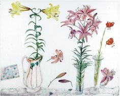 Elizabeth Blackadder, (b.1931), Still Life, Lilies, Yellow, Pink, and Orange (1983), pencil and watercolour, 73 x 58.5 cm. Via Sotheby's.