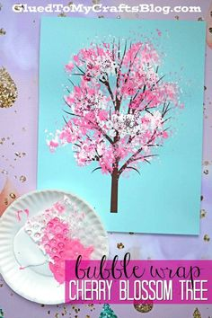 Cherry blossom trees and this Bubble Wrap Print is such a cute craft idea! Trying it with my preschoolers ♥I love Cherry blossom trees and this Bubble Wrap Print is such a cute craft idea! Trying it with my preschoolers ♥ Bubble Wrap Crafts, Bubble Wrap Art, Pink Crafts, Flower Crafts, Cherry Blossom Painting, Blossom Trees, Cherry Blossoms, Tree Artwork, Spring Tree