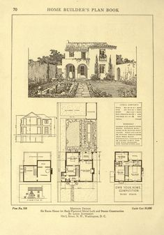 Home builder's plan book; a collection of archi. Spanish Bungalow, Spanish Revival, Spanish Style, Vintage Architecture, Architecture Plan, House Plans One Story, House Floor Plans, The Sims, Vintage House Plans