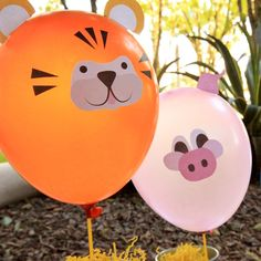 Skip traditional Mylar birthday balloons and print cute and inexpensive animal balloon decals instead! - Everyday Dishes & DIY