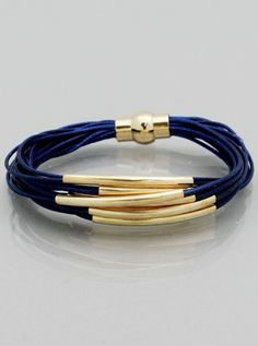 Blue and Gold Tube Multi Strand Bracelet – JaeBee Jewelry