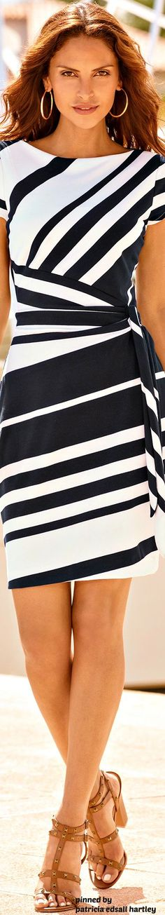 @roressclothes clothing ideas #women fashion Black & White striped dress