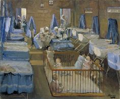 Lady Henry's Crèche, Woolwich, 1919 - John Lavery Date painted: 1919