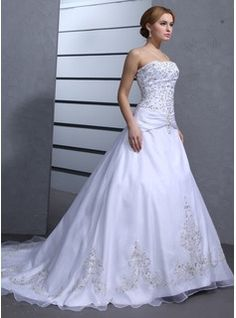Ball-Gown Strapless Chapel Train Organza Satin Wedding Dress With Embroidery Beading (002000239) - JJsHouse