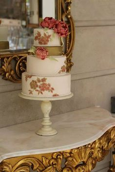 Vintage Wedding Cake at Tankardstown by  Cocoa Moiselle