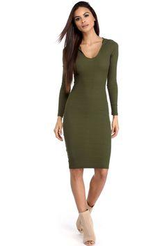 Olive Cute And Hood Midi Dress | WindsorCloud