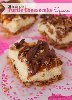 "Ghirardelli Turtle Cheesecake Squares are the perfect way to say ""I love you"" on Valentine's Day! A pecan graham cracker crust with a creamy, delightful cheesecake layer, topped with more pecans, caramel and melted chocolate! Be still my heart!"