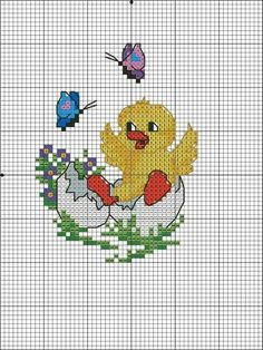 Cross Stitch Cards, Easter Crafts, Cross Stitch Patterns, Needlework, Kids Rugs, Bird, Quilts, Embroidery, Crochet