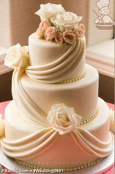 "Design W 0601 | White Fondant Wedding Cake | 12""+ 9""+ 6"" | Serves 100 | Fresh Flowers | Custom Quote"