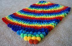 PomPom Rainbow Rug by YarnRoad on Etsy