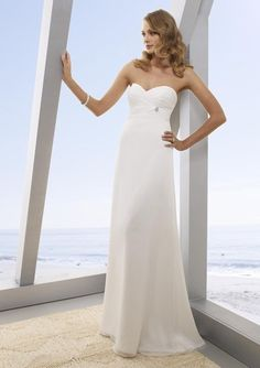 a-line chiffon strapless wedding dresses