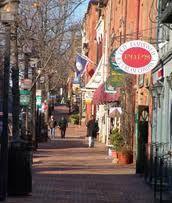 Shops line King Street, the main street of Old Town Alexandria, Virginia.
