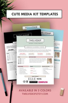 Cute Media Kit Template http://www.twelveskip.com/guide/blogging/1396/media-kit-templates