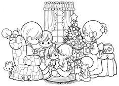 família no Natal para colorir