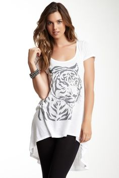 Printed Hi-Lo Short Sleeve Tee by Go Couture on @HauteLook