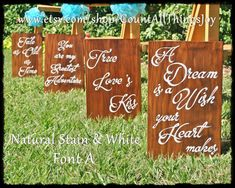 Set the tone of your disney themed wedding with a set of eight custom disney wedding aisle signs set of love quotes for disney wedding theme hand painted decorative large wood sign custom colors junglespirit Images