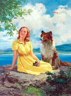 Hintermeister, Henry (b,1897)- Woman w Collie (Summer Day)