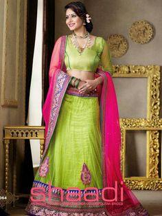 Pavitraa Lime and Color Choli Lehenga Style Saree, Pink Lehenga, Net Lehenga, Lehenga Choli Online, Bridal Lehenga Choli, Navratri Dress, Sarees Online India, Ethnic Wear Designer, Latest Sarees