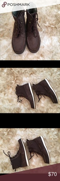 Sperry suede and cloth boots Sperry brown suede and cloth boots. These are a man size 6. Will also fit a woman size 8. I believe they are unisex. They were purchased for me.😀 awesome looking deck boots. Wear with jeans or shorts, even a skirt.🌹 Sperry Shoes Ankle Boots & Booties