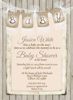 Rustic Peach Baby Shower Invitation Shabby By WallflowerEvents 1400