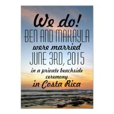 Destination Beach Eloped/Wedding Announcements