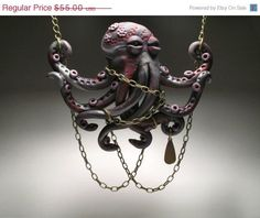 Octopus Grabbing Chains Necklace