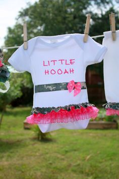 """ACU onesie for a special little girl who is Daddy's """"Little Hooah""""."""