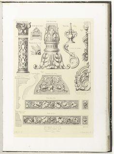Dertien bouwkundige ornamenten en drie doorsneden, Charles Claesen, ca. 1866 - ca. 1900