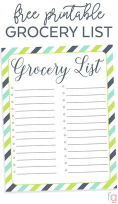 Printable Grocery List Template - Printable Grocery List Free - Grocery List Printable Free - Organization Printables Free - Free Printable Grocery List Free Printables for the Home Printable Shopping List, Shopping List Grocery, Planning Menu, Organization Lists, Kitchen Organization, List Template, Templates Free, Lettering, Diy On A Budget
