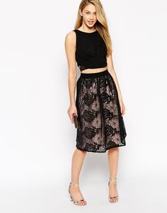 Little Mistress All Over Lace Midi Prom Skirt