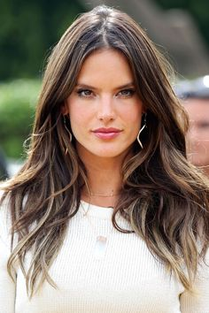 Alessandra Ambrosio...love her highlights in the perimeter which are very light ash blond...