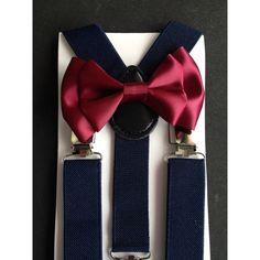 Bow Tie & Suspender Set Burgundy Bow Tie Navy Blue Suspenders Toddler... ($8) ❤ liked on Polyvore featuring accessories, dark olive y weddings