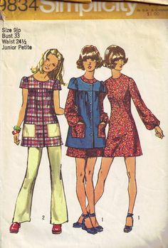 Vintage 1970s Dress, Smock and Pants Simplicity 9834 Sewing Pattern Jr Petite Size 9 bust 33. $2.95, via Etsy.