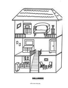 Dollhouse - Free Printable Coloring Pages | Coloring Page Doll House  | title