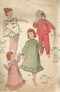 Vintage 50s Butterick 8247 Toddler Baby Doll Shortie