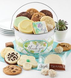 Thank You Treats Pail Gourmet Baskets, Food Gift Baskets, Thank You Cookies, Cut Out Cookies, Cookie Frosting, Buttercream Frosting, Gourmet Food Gifts, Gourmet Recipes