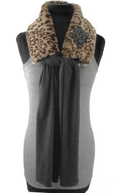Leopard Faux Fur Scarf with Black Rose Brooch: