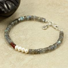 Labradorite Cultured Pearl Garnet and Hill by SandCanyonJewelryLLC, $42.00