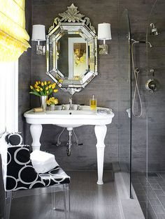Glamorous Color Scheme - gray & bright yellow small bathroom