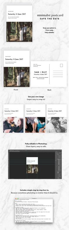 Minimalist Postcard Save the Date Templates The Minimalist Postcard Save the Date Template includes:- 1 x Save the Date PSDDetails:- When pr by Wednesday Designs Diy Save The Dates, Wedding Save The Dates, Save The Date Templates, Wedding Templates, Wedding Cards, Wedding Invitations, Invites, Cute Typography, Dating Personals
