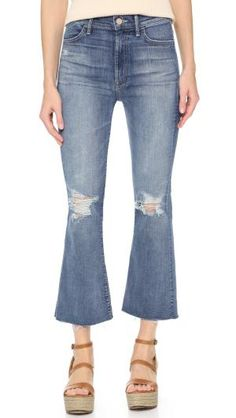 Spring Trend Report: Are Cropped Flare Jeans The Next Big Thing?: Distressed Light Wash Flare Jeans From Mother