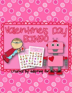 Valentine's Day BINGO: Includes 30 unique BINGO Cards, page printable calling cards and a slideshow for use on an interactive whiteboard or with a projector. {Created by Adapting for Autism} Valentine Bingo, Valentines Day Activities, Interactive Whiteboard, Calling Cards, Bingo Cards, Special Education, Autism, Teaching, Create