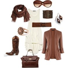 "my latest polyvore creation: Cream ivory jersey dress, chocolate accessories, blazer, cowboy boots, bronze, gold ""Smooth & Creamy"" by brookemcp83 on Polyvore"
