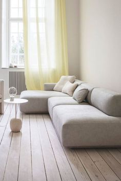 Light living room space with Develius modul sofa, Lato table and Loafer chair. Minimalist Sofa, Modern Minimalist Living Room, Living Room Modern, Couches For Small Spaces, Small Sofa, Small Living Rooms, Living Room Sofa Design, Living Room Interior, Moderne Couch