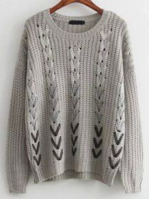 Casual Grey Round Neck Hollow Ribbon Sweater