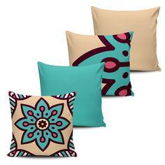 KIT com 4 Almofadas Decorativas Mandala 45x45cm - ALMAND011 - Pano e Arte