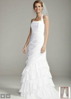 David's Bridal Satin Side Drape Gown With Tiered Skirt Style Sas1218 Wedding Dress $180