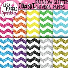 Rainbow Glitter Chevron Digital Paper Background Clipart Set
