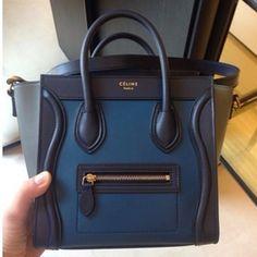 Celine Navy Blue Tricolor Nano Luggage Tote Bag - Pre Fall 2014